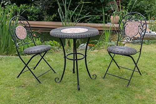 aubaho Garnitur Gartenset Eisen Gartenmöbel Garten Schwarz antik Stil garden furniture