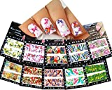 Nail Art Water Slide Tattoo Decals Full Cover Animal Floral Peacock Butterflies Patterns, 10 Pack /Cxix/