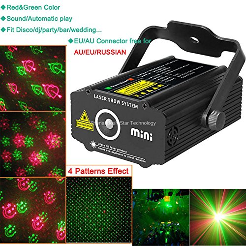 New Mini Red Green Gobo 4 Patterns Heart Projector Portable Dj Lighting Light Dance Disco Bar Birthday Wedding Christmas Xmas Party Effect Stage Light Show B24