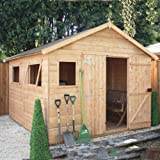 12ft x 10ft Shiplap Apex Wooden Storage Shed - Premier Groundsman - Brand 12x10 New Double Door Full Tongue and Groove Sheds