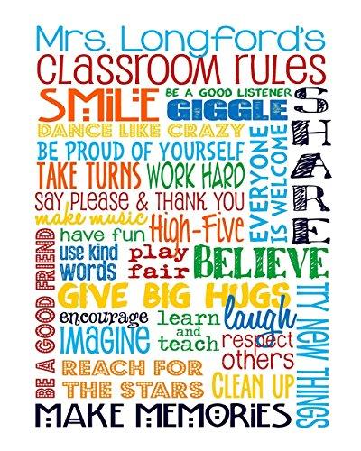 PERSONALIZED Classroom Rules for Elementary School or Preschool School Teacher - Classroom Art - Teacher - Primary Colors - Classroom Rules - TEACHER GIFT - UNFRAMED Poster Print