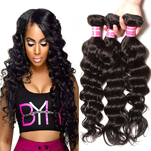 Jolia Hair 6A Grade Virgin Brazilian Natural Wave Hair 3 Bundles, 100% Unprocessed Brazilian Virgin Human Hair Weave Extensions, Natural Black Color, Full Head (16 18 20 inches) (Natural Wave Hair compare prices)