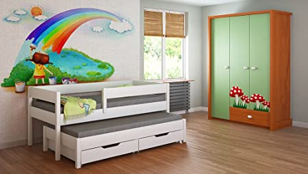 Trundle Bed For Kids Children Juniors Mattress 140x70, 160x80, 180x80, 180x90, 200x90 with 10cm Foam Mattress and Drawers Included !!!! (180x80, White)