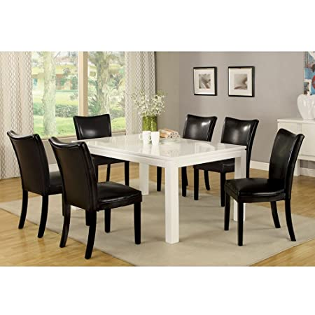 7PC Dining Set High Glass Lacquer Coating Dining Tablet Padded chair