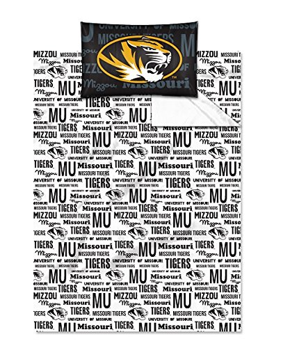 Missouri Tigers - Twin Size - Team Colored Anthem Sheet Set - Set Includes: (1 Twin Size Flat Sheet, 1 Twin Size Fitted Sheet, 1 Pillow Case) Save Big On Bundling! front-862514
