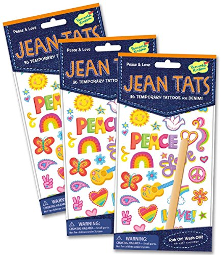 Peaceable Kingdom Jean Tats Peace and Love Temporary Tattoos for Fabric - 3 Pack