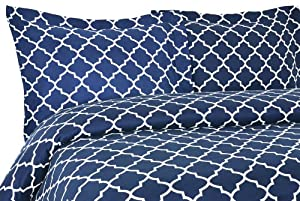 Elite Home Collection Charleston Geometric Print Luxurious Microfiber 2-Piece Duvet/Sham Set, Twin Size, Dark Teal