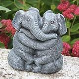 Steinfigur Elefantenpaar Steinguss Schiefergrau