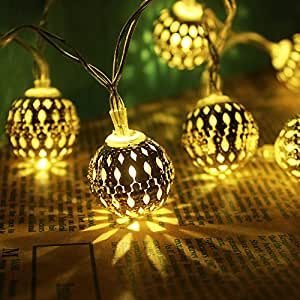Cmyk Battery Operated Silver Moroccan Orb LED Fairy Lights With