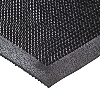 Crown Molded Rubber Easy to Clean Scraper Mat, for Outdoor or Indoor Areas, Black