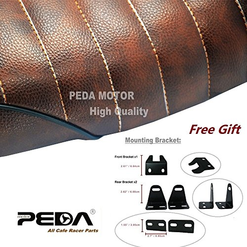 PEDA New Brown Cafe Racer Flat Seat Retro Locomotive Refit Motorcycle Seats Leather Waterproof 2