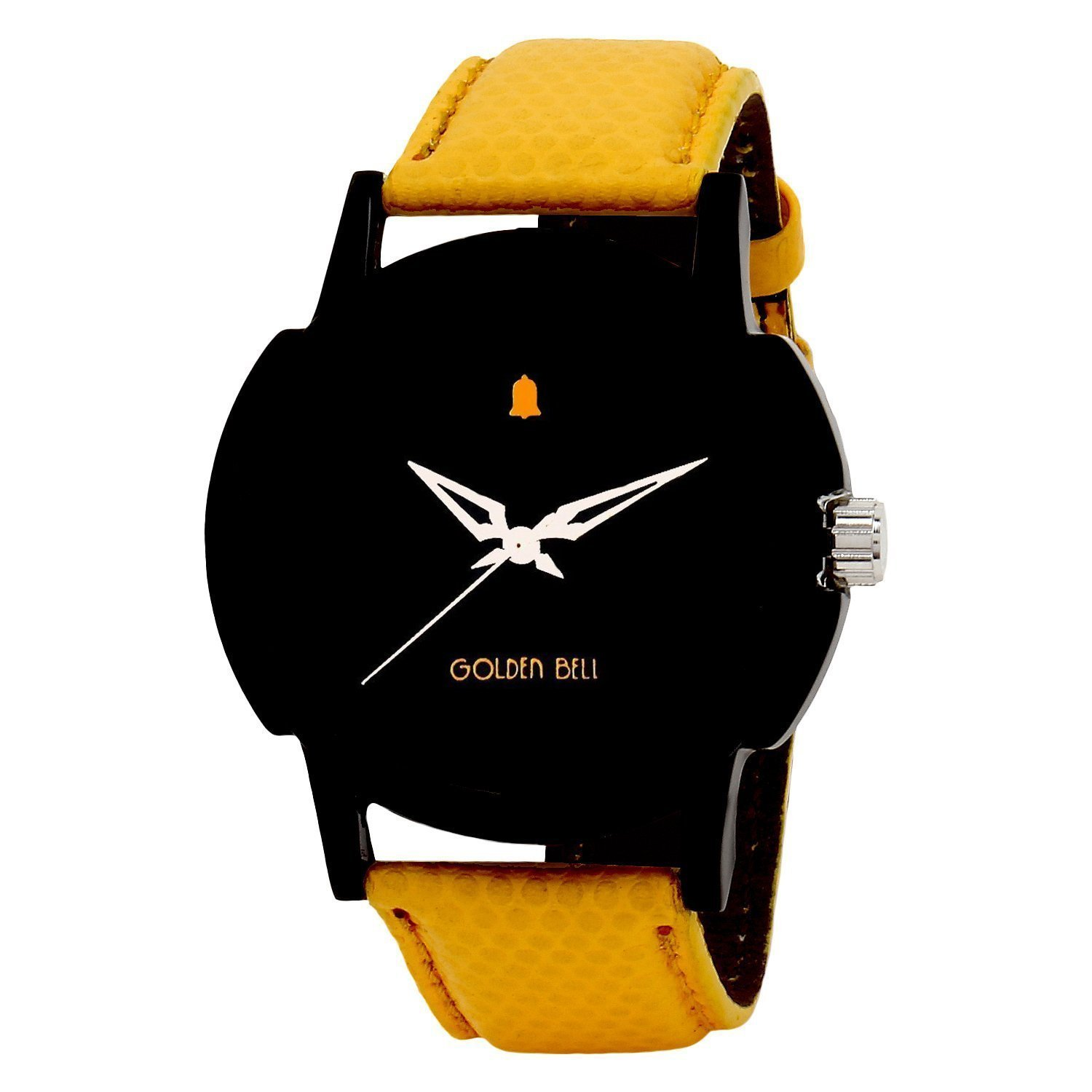 Golden Bell Analogue Original Black Dial Yellow Strap Wrist Watch For Men - GB-406BlkD By amazon @ Rs.349