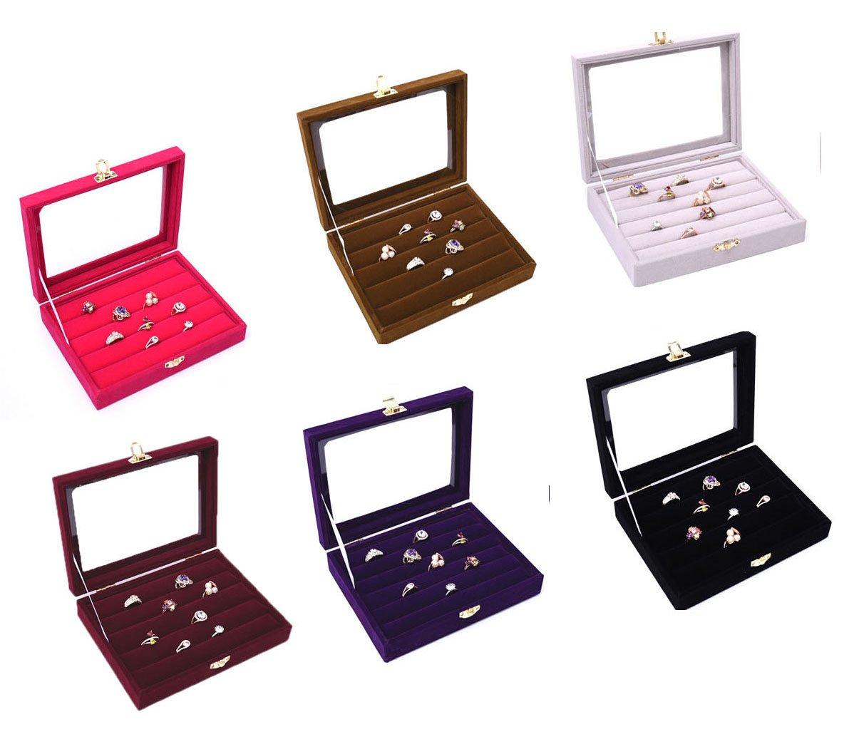 Top grade velvet jewelry display ring trays earring for Velvet jewelry organizer trays