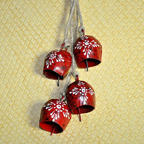 CYBER MONDAY 4 Red Hand Painted Christmas Cow Bells , Wreath Supply , Cowbell Door Decoration, Primitive Supply / Decor / Embellishment , with Jute Ropes