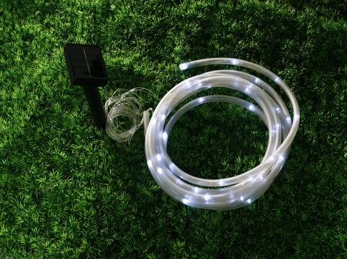Solar Rope Tube White 50 Led String Garden Light Inside/Outside 23 Feet Long Total Length