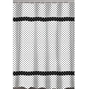 dots fabric shower curtain black black and white polka dot shower curtain. Black Bedroom Furniture Sets. Home Design Ideas