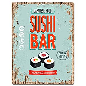Japanese food sushi bar chic sign home kitchen for Plaque metal cuisine