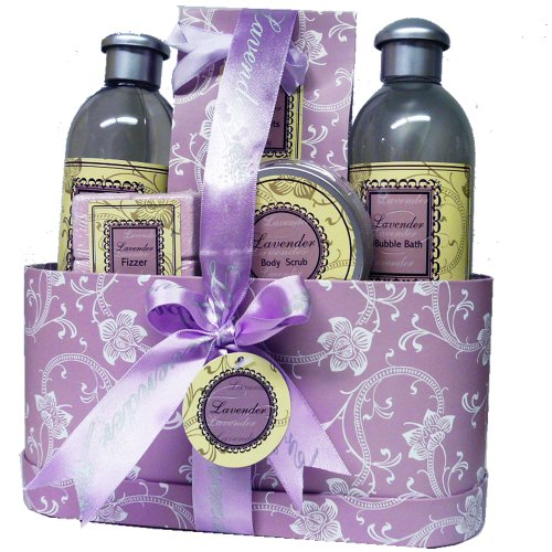 Lavender and Lace Spa Bath and Body Gift Basket Set