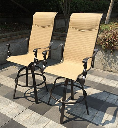 Set Of 2 Aluminum Patio Swivel Bar Height Stools
