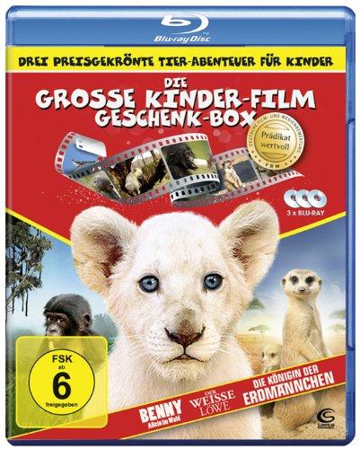 Die große Kinderfilm-Geschenk-Box mit drei preisgekrönten Tier-Abenteuern: Der weiße Löwe, Benny - Allein im Wald, Die Königin der Erdmännchen (3 Blu-rays)