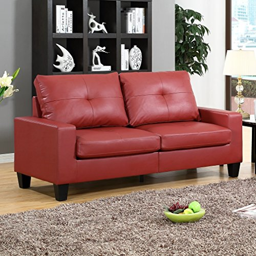 Fernanda Red Faux Leather Sofa And Loveseat