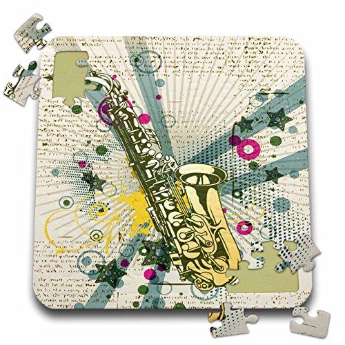 Dooni Designs Music Designs - Vintage Jazz Sax Saxaphone Vector Funky Pop Art Design - 10x10 Inch Puzzle (pzl_115373_2) (Sax Vintage compare prices)