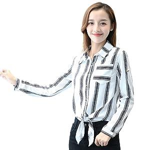 TLZC Women's Fashion Stripes Roll-up Sleeve Chiffon Shirts Blouses