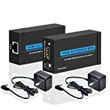 ELUTENG HDMI Extender Over Single Cat 5E/6/6a Up to 196ft(60M) Support Full HD 1080P 3D HDCP EDID, Ethernet LAN Cable Switch Network RJ45 to HDMI Extension Adapter Transmitter and Receiver