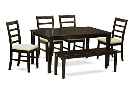 East West Furniture CAPF6-CAP-C 6-Piece Kitchen Table Set with Bench