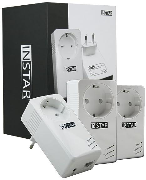 Instar 100380 Kit de démarrage contenant 3mini-adaptateurs CPL avec prise intégrée 500Mbps/s 2W Blanc