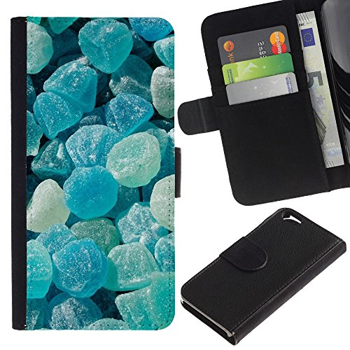 iBinBang / Flip Wallet Design Leather Case Cover - Crystal Meth Rocks Candy Blue Beach - Apple Iphone 6 4.7