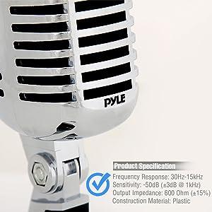 Micrófono vocal Pyle PDMICR42SL,  dinámico con 16 pies de cable XLR, estilo clasico Vintage Retro, color plata.