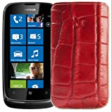 Original Suncase Mobile Phone Case with Flap and Pull-Up Strap for Nokia Lumia 610 Leather