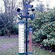 Relaxdays Garten Wetterstation XXL Thermometer 145 cm mit 4 Funktionen