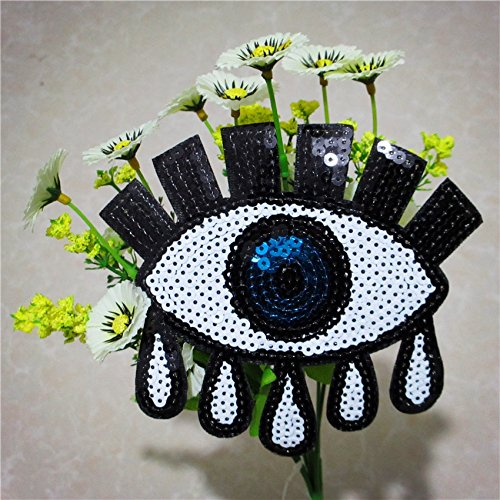 New Fashion Sequins Iron on Patches for Clothing Sew-on Embroidered eye white logo Patch Applique DIY Accessory Free Shipping (Steam On Letters compare prices)