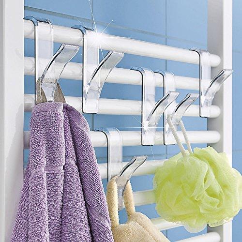 Rundheizkörper Haken 6 Stück Handtuchhaken Handtuchhalter Transparent oder in weiss