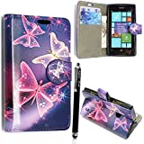 NOKIA LUMIA 520 CARD POCKET PU LEATHER BOOK FLIP CASE COVER POUCH + FREE STYLUS (Blue Butterfly Book)