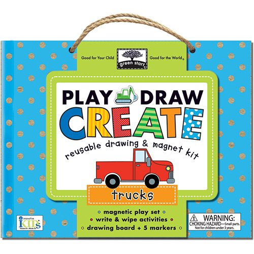 Innovative Kids Green Start Play, Draw, Create Trucks Playset