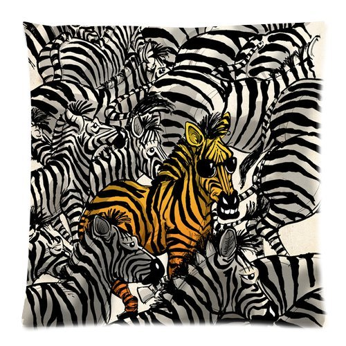 Generic Custom Grey And Yellow Zebras Printed Zippered Pillowcase Cushion Case 18*18(Twin Sides) front-929508