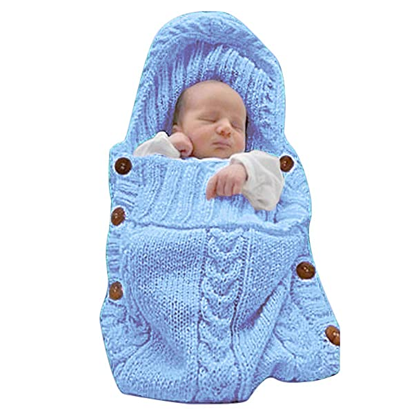 XMWEALTHY Newborn Baby Wrap Swaddle Blanket Knit Sleeping Bag Sleep Sack Stroller Wrap for Baby(Light Blue) (0-6 Month) (Color: Baby Blue, Tamaño: One Size)