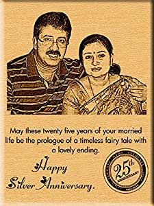 Wedding Anniversary Gift For Parents Online India : Wedding Anniversary Gift ideas Engraved Photos on Wood (9x7) Online ...