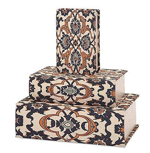 Set of 3 Dalton Canvas-Covered Decorative Book Boxes with Antique Style Tome Pattern fundamentals of physics extended 9th edition international student version with wileyplus set