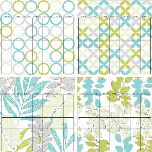 Brewster Wall Pops WPE99030 Peel & Stick Habitat 4 Piece Calendar Set with Marker