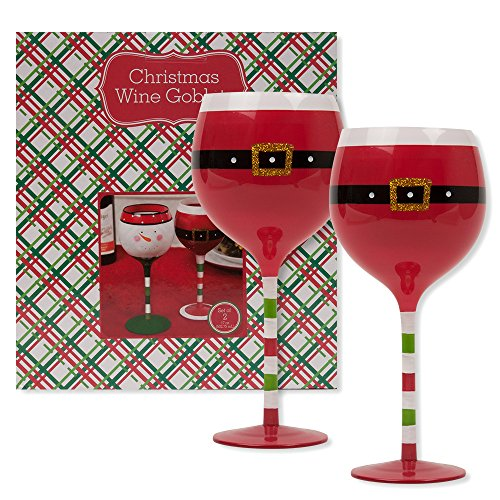 Christmas 16.9 oz Santa Belt Wine Glasses (Set of 2) (Santa Belt) (Pier One Imports Wine Glasses compare prices)