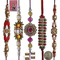 Indiangiftemporium Charming Gift To Brother Five Zardosi Rakhi Set Rakhi Raksha Bandhan Gift Band Moli Bracelet...
