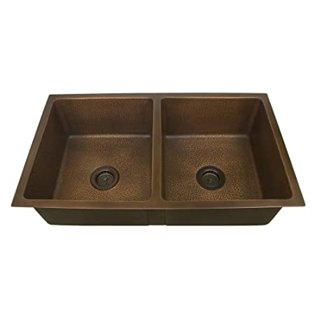 "Barclay KSCDB3502-AC Seward 36"" Double Bowl Copper Undermount Kitchen Sink"