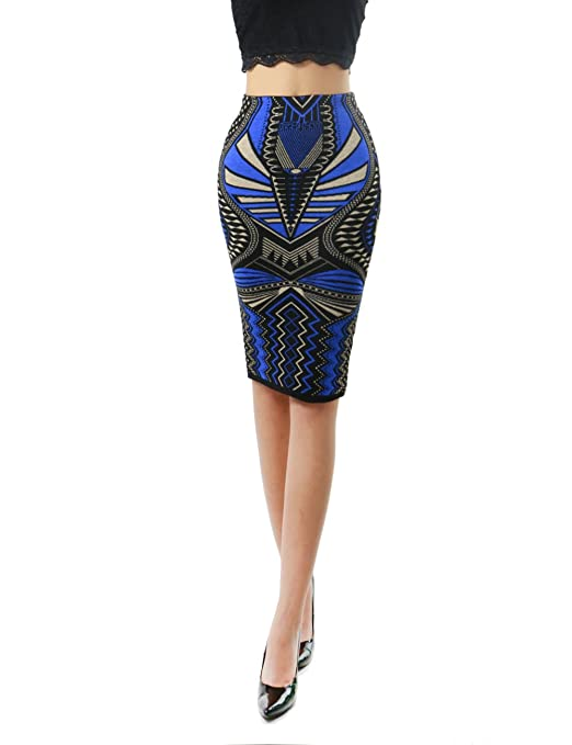 Women's Aztec Tribal Pattern Design Bodycon Pencil Fashion Skirt - Stylish Outfit2