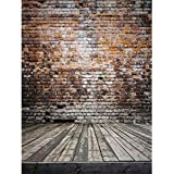 6.5ft(h)*5ft(w) Wood Floor Bricks Wall Photography Backdrop no Crease Backgrounds for Photo Studio FT0044