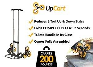 UpCart Lift 200lb Capacity Stair Climbing Folding Hand Truck (Color: Yellow and Black)