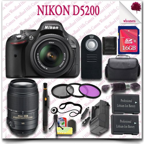 Nikon D5200 Digital Slr Camera With 18-55Mm Af-S Dx Vr (Black) + Nikon 55-300Mm Af-S Dx Vr Lens (Refurbished) + 16Gb Sdhc Class 10 Card + 3Pc Filter Kit + Slr Gadget Bag + Wireless Remote 19Pc Nikon Saver Bundle